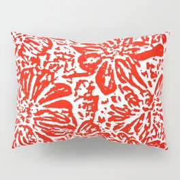 Marigold Lino Cut, Red Pillow Sham