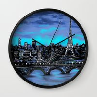 blankets Wall Clocks featuring Eiffel Tower ~ Paris France by RokinRonda