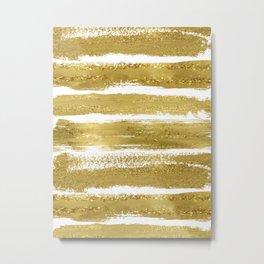 Gold Glitter Brushstrokes Metal Print