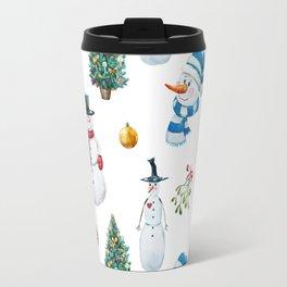 Snowmen Pattern Travel Mug