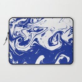 Marble blue 4 Suminagashi watercolor pattern art pisces water wave ocean minimal design Laptop Sleeve