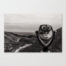 Mountain Tourist Binoculars Black and White Canvas Print