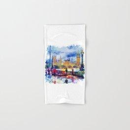 London Rain watercolor Hand & Bath Towel