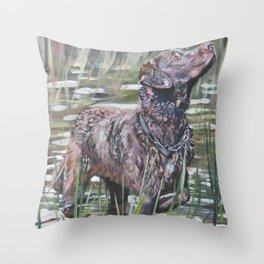 the Chesapeake Bay Retriever dog art from an original painting by L.A.Shepard Throw Pillow