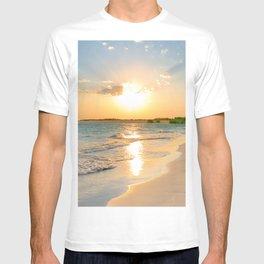 Aerial Photography Pink Blush Sunset Beach T-shirt
