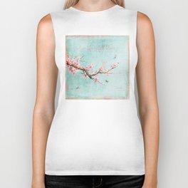 Live life in full bloom - Romantic Spring Cherry Blossom butterfly Watercolor illustration on aqua Biker Tank