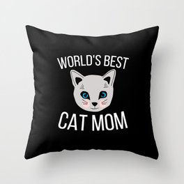 Worlds Best Cat Mom Throw Pillow