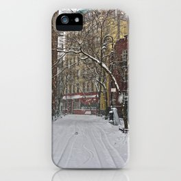 Snowy street Greenwich Village NYC iPhone Case
