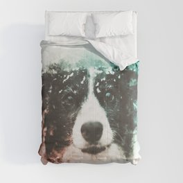 Border Collie Digital Watercolor Painting Comforters