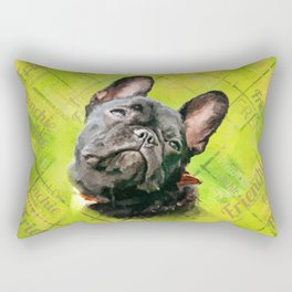Cute French Bulldog - Frenchie with word pattern Rectangular Pillow