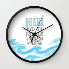 ohana means family lilo and stich cerulium Wall Clock