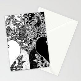 Unity of Halves - Life Tree - Rebirth - White Black Stationery Cards