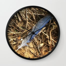 Blue Jay Feather Wall Clock