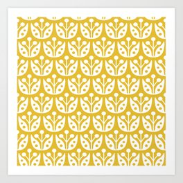 Mid Century Modern Flower Pattern Mustard Yellow Art Print