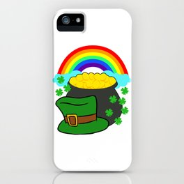 Pot Of Gold Hat And Rainbow Clover St Patricks Day iPhone Case