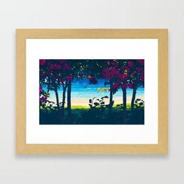 Red flower shade and beach Framed Art Print
