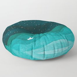 Starry Ocean, teal sailboat watercolor sea waves night Floor Pillow