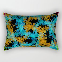 Multicolored delicate pastel mustard circles and blue ellipses depicting abstract ornamental green f Rectangular Pillow