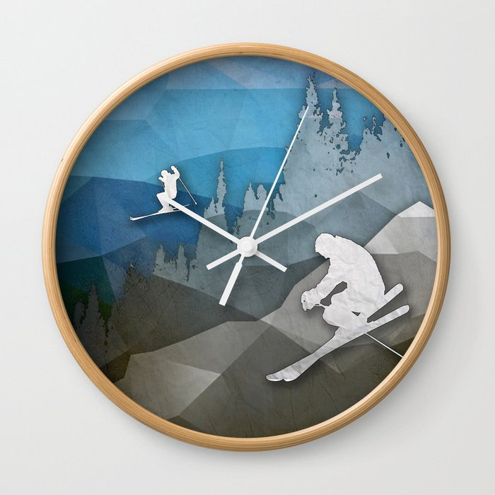 The Skiers Wall Clock By Amandaroyale