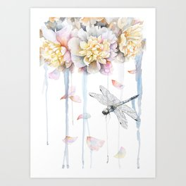 Peonies and Dragonfly, Serenity, Harmony Art Print