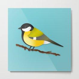 Cute Little Yellow Bird Parus Major Cartoon Illustration On Blue Metal Print