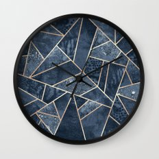 Soft Dark Blue Stone Wall Clock