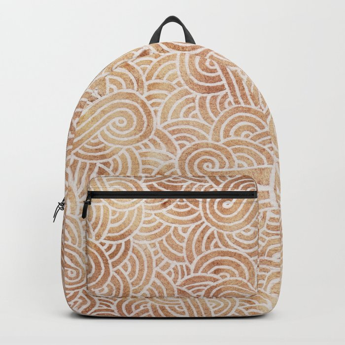 Iced coffee and white swirls doodles Backpack