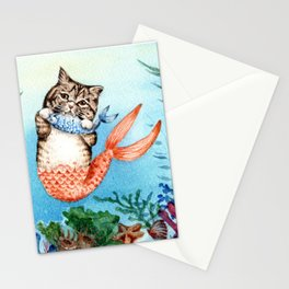 Cute Purrmaid Cat Mermaid Stationery Cards