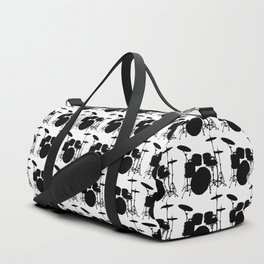 Drumset Pattern (Black on White) Duffle Bag