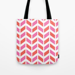 Coral orange, pink and white chevron pattern Tote Bag