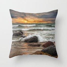 Sunset on Sturgeon Bay in Lake Michigan Throw Pillow