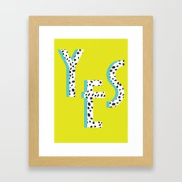 YES Poster | Lime Dalmatian Pattern Framed Art Print