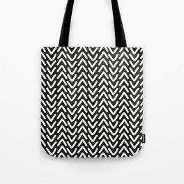 chevron white on black Tote Bag