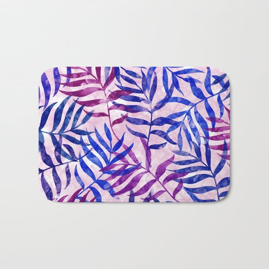 Watercolor Tropical Palm Leaves II Bath Mat