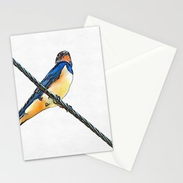 Swallow Bird On A Wire Stationery Cards
