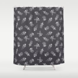 Cosmic Stranger Pattern in Grey Shower Curtain
