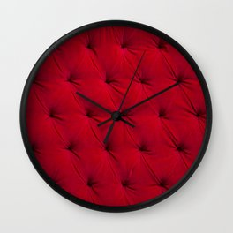 Padded red velvet texture Wall Clock