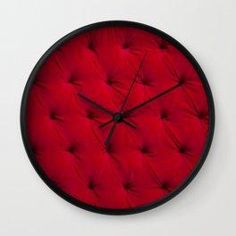 Padded red velvet texture Wall Clock