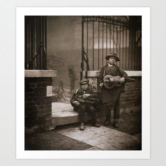 Musiciens de rue vielle à roue Art Print
