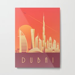 Dubai City Skyline Retro Art Deco Tourism - Sunset Metal Print
