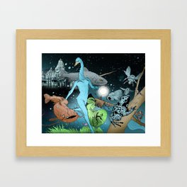 The Swan's Procession Framed Art Print
