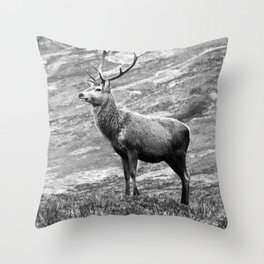 Stag b/w Throw Pillow