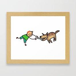 Playful Dog Boy Framed Art Print