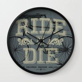 Ride Or Die Bicycle Print Wall Clock