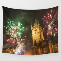 fireworks Wall Tapestries featuring Fireworks 1 by Veronika