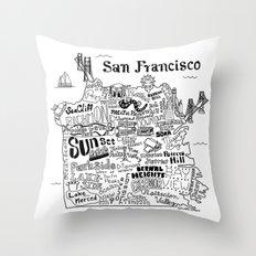 San Francisco Map Illustration Throw Pillow