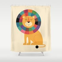 valentina Shower Curtains featuring Mr. Confidence by Andy Westface