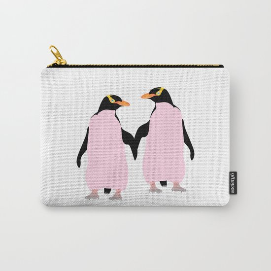 Gay Pride Lesbian Penguins Holding Hands Carry-All Pouch