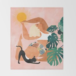Tropical Yoga #illustration #tropical Throw Blanket