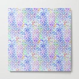 Watercolor Grid Pattern Metal Print